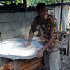 The baker in Lelepa village. The oven is behind him.