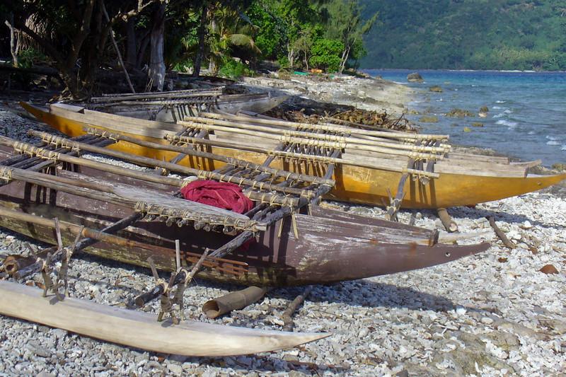 Canoes at the village on Lelepa Island.