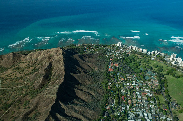 An aerial view of Diamond Head and Honolulu, Oahu
