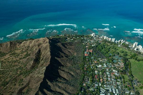 An aerial view of Diamond Head and Honolulu, Oahu