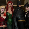 Harley Quinn, Poison Ivy, Batman, and Catwoman