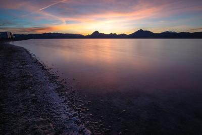 Sunset at Bonneville Salt Flats