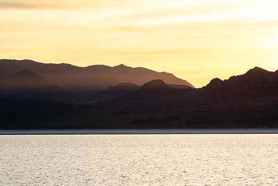 Sunset over the Bonneville Salt Flats