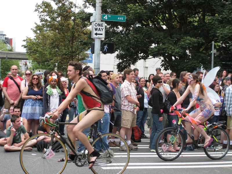 Naked bicyclists