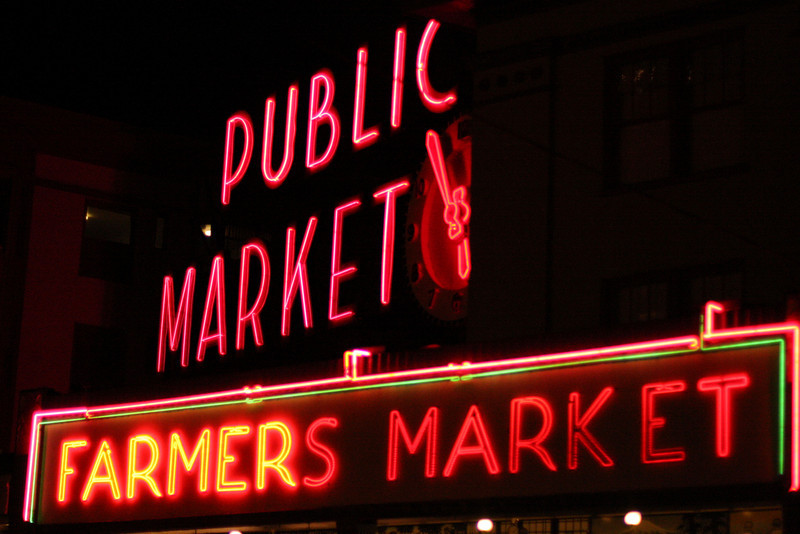 Pike Market at night.