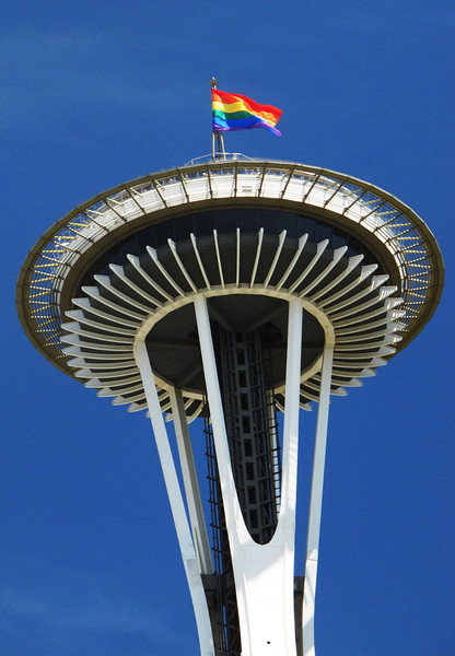 After a lot of agita, the Pride flag was up on top of the Space Needle again this year.