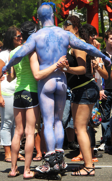 Naked blue man.