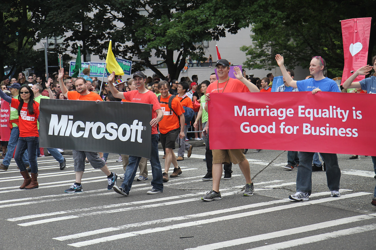 And Microsoft along with a quote from the letter from our execs written to support gay marriage.