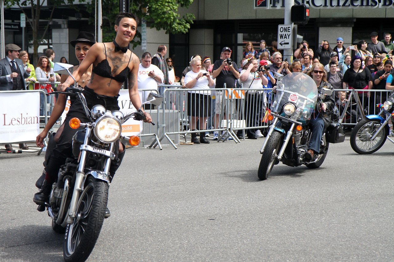 As always, Dykes on Bikes opens the parade.
