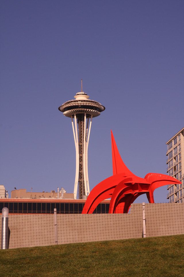Sculpture and Space Needle.