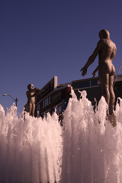 Sculpture and water.