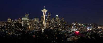Seattle At Night Pano