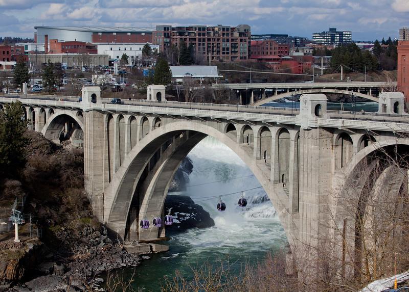 Gondolas under the Monroe Street bridge in Spokane