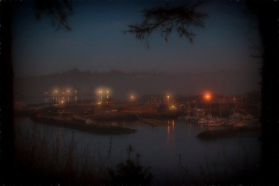 Yaquina Bay Dock January Evening Monet Impression