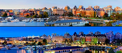 sunset and dusk in the Victoria Harbor, British Columbia