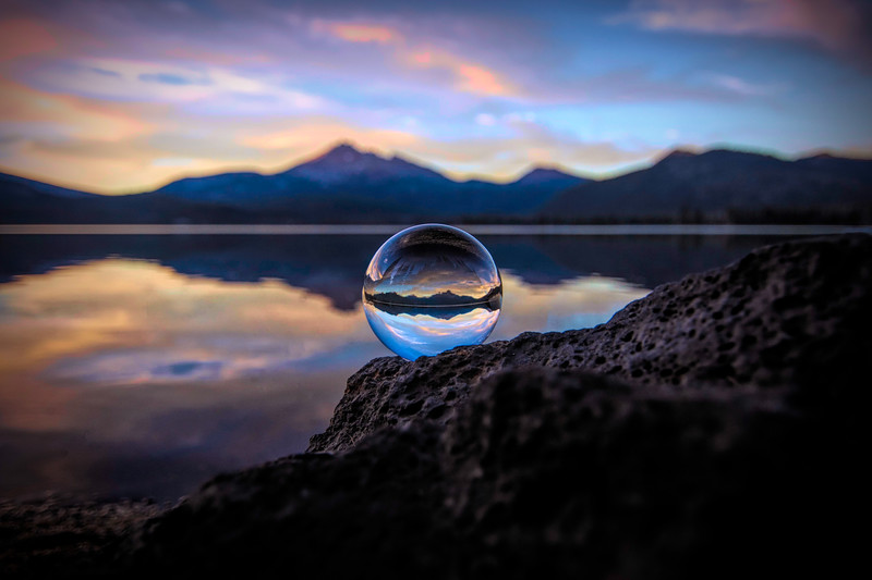 Sparks Lake sunset with sphere