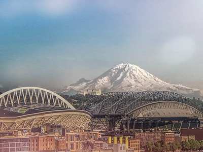 Seattle stadiums and Mt. Rainier