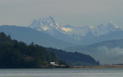 Cascade mountains from the east side of Whidbey Island