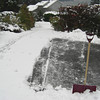 Shoveling.<br /> First snow of 2012 melting. Freeland, Whidbey Island. January 20, 2012.