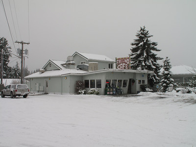 Day 2. First snow of 2012. Freeland Cafe, Whidbey Island. January 18, 2012