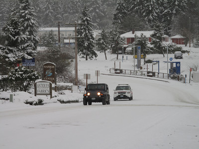 Downtown. Day 2. First snow of 2012. Freeland, Whidbey Island. January 18, 2012