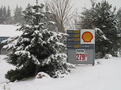 Gas Prices. Day 2. First snow of 2012. Freeland, Whidbey Island. January 18, 2012