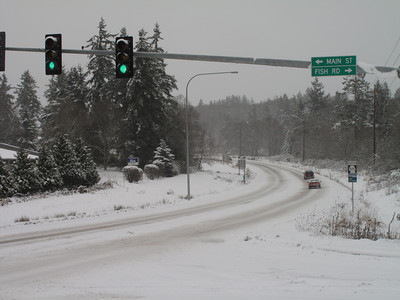 Highway 525. Day 2. First snow of 2012. Freeland, Whidbey Island. January 18, 2012