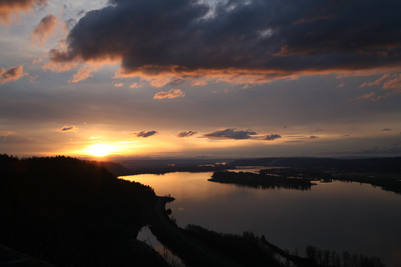 Sunset from Crown Point. Columbia River Gorge National Scenic Area.  Near Troutdale, Oregon.