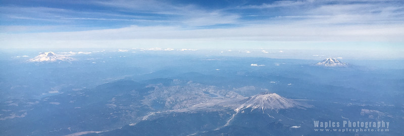 Mt. St. Helens, foreground, with Mt. Rainier (left) and Mt. Adams (right)
