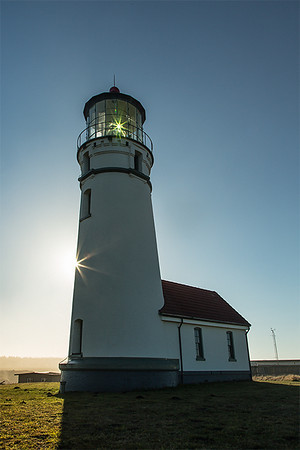 Cape Blanco Lighthouse, Oregon. First lit in 1870, the 59 foot tall tower is the oldest lighthouse in Oregon.