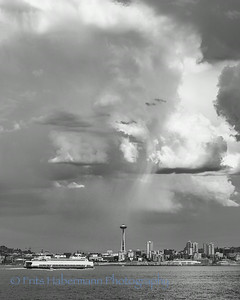 Space Needle in Light of the Storm Black & White