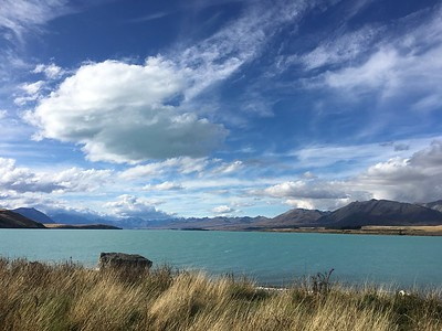 Lake, mountains, clouds