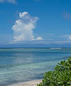 Rarotonga - white clouds, blue sea