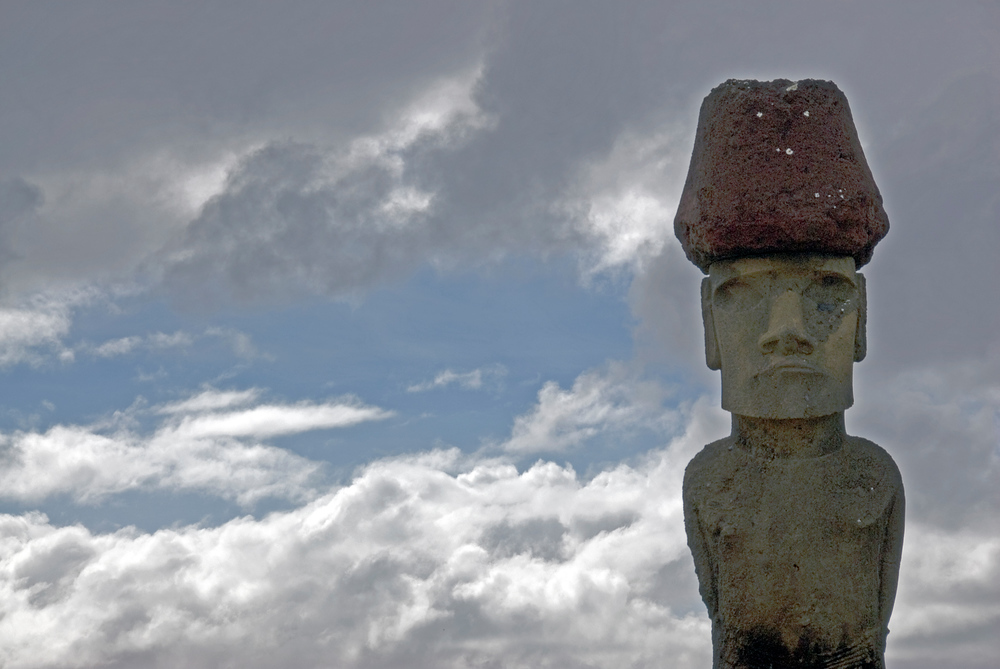 Moai with topknot on Easter Island