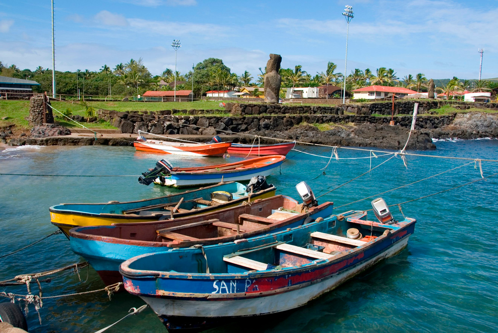 Boats in port, Hanga Roa, Easter Island
