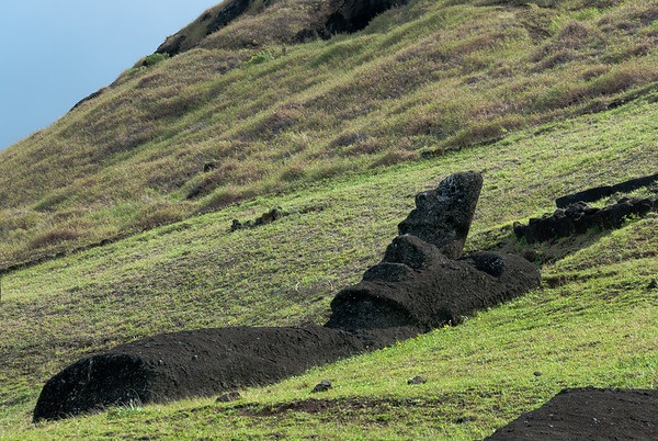 Partially buried Moai on a hillside on Easter Island