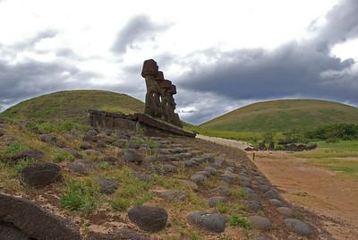 Restored Maoi in Easter Island