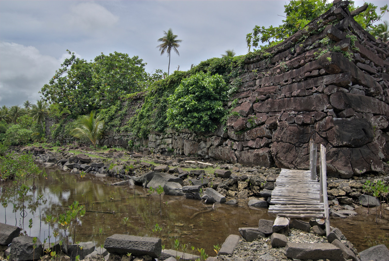 Nan Modal Wall at angle HDR - Pohnpei, FSM