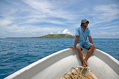 Man on a boat in Yasawa Islands, Fiji