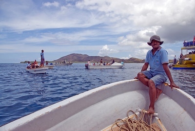 Man on a boat in Yasawa Islands, Fiji