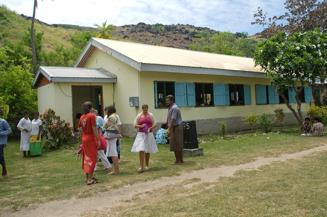 Outside a local church in Yasawa Islands, Fiji