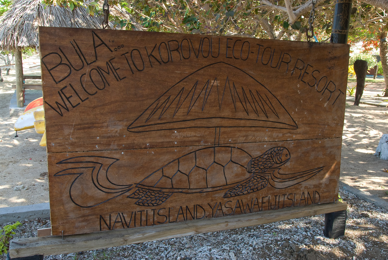 Welcome sign at Eco Tour resort in Yasawa Islands, Fiji