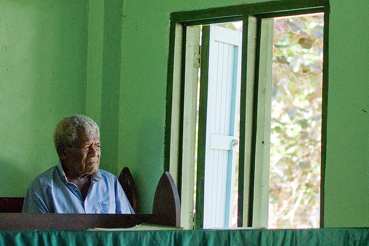 An elder man during church service in Yasawa Islands, Fiji