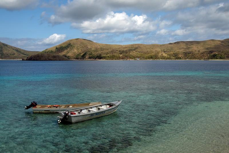 Two empty boats in Yasawa Islands, Fiji