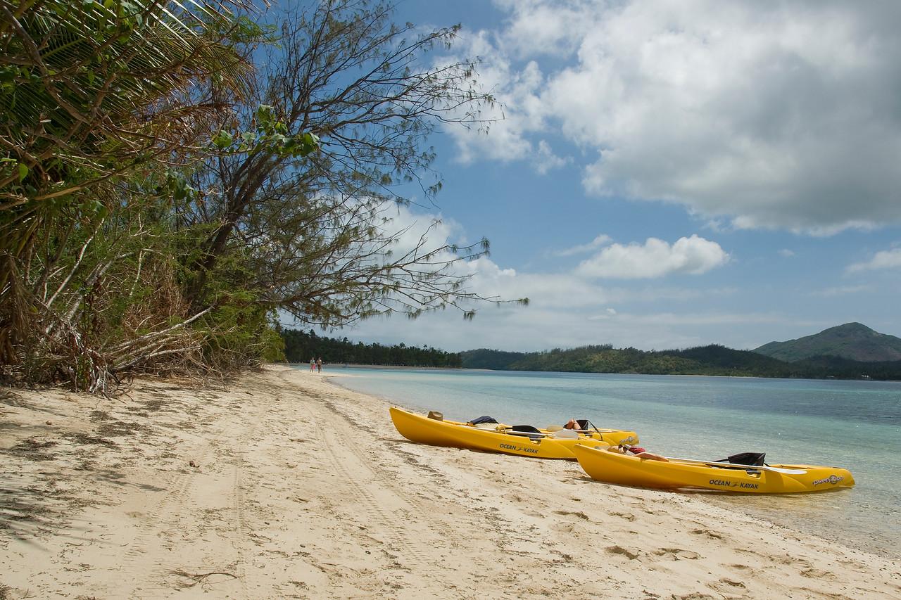 Kayaks on the beach - Yasawa Islands, Fiji