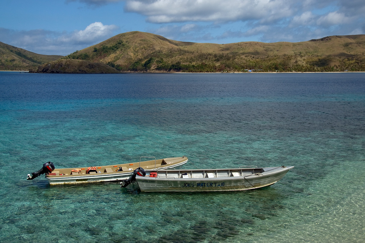 Two empty boats in Yasawa Islands, Fiji