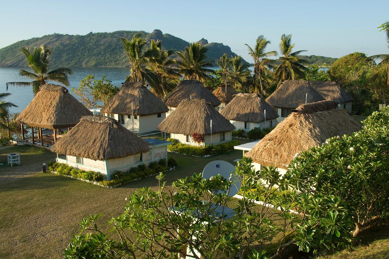 Overlooking view of beach resort in Yasawa Islands, Fiji