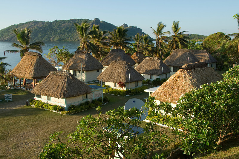 Overlooking view of beach resort in Yasawa Islands, Fiji