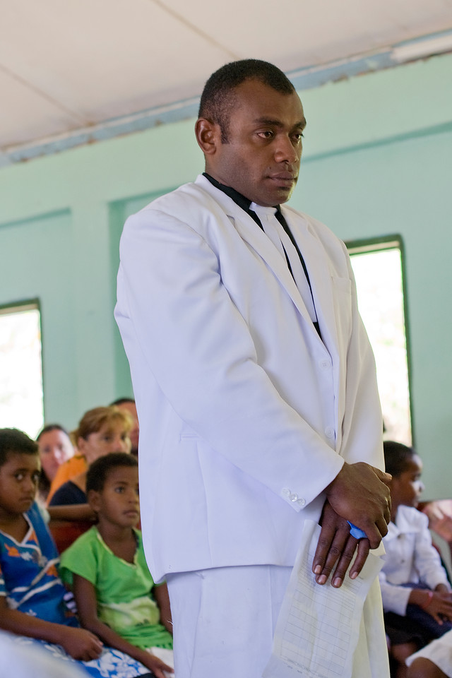Man during church service in Yasawa Islands, Fiji