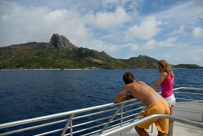 Tourists on a boat in Yasawa Islands, Fiji